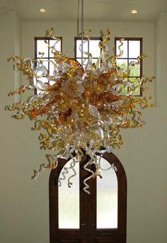 Glass Chandelier / Glass Lighting / Blown Glass by Whiteelkglass Blown Glass Chandelier, Blown Glass Pendant Light, Chandelier Art, Contemporary Chandelier, Chandeliers, Chihuly Chandelier, Pendant Lights, Glass Sink, Glass Wall Art