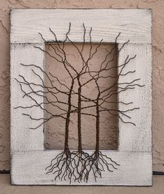 Amy Giacomelli Original Wire Tree Abstract Sculpture Painting ... Wire tree on distressed salvaged frame, ... Great gift size 14 x 17. $135.00, via Etsy.