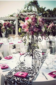 bride Blue by Enzoani Wedding Dresses 2012 The bride and her father. flowy and delicate wedding gowns Black white and pink wedding table set. Wedding Centerpieces, Wedding Decorations, Table Decorations, Tall Centerpiece, Wedding Tables, Wedding Reception, Beautiful Table Settings, Deco Floral, Festa Party