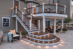 Professional Building Services Trex curved deck with lights