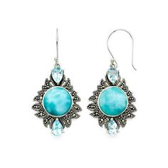 Genuine Larimar and Marcasite Sterling Silver Drop Earrings ($122) ❤ liked on Polyvore featuring jewelry, earrings, marcasite jewellery, sterling silver drop earrings, sterling silver jewelry, blue drop earrings and blue earrings
