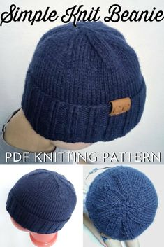Lovely simple men's toque pattern to knit. Excellent instructions for decreasing with a flat top. My husband would love this knit hat! Mens Crochet Beanie, Beanie Knitting Patterns Free, Easy Knit Hat, Beanie Pattern Free, Knit Hat For Men, Crochet Beanie Pattern, Baby Hats Knitting, Free Knitting, Knitted Hats
