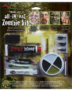 Create a compelling and completely unique Zombie costume for Halloween. This family-size all in one Zombie kit has everything you need to create dozens of scary zombies like a pro.