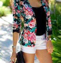 Floral blazer, black tank and white shorts