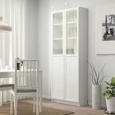 BILLY / OXBERG Bookcase with panel/glass door, white, glass, cm. Panel/glass doors provide dust-free storage and let you hide or display things according to your needs. adapt space between shelves according to your needs. Bookcase With Glass Doors, Glass Cabinet Doors, Glass Shelves, Ikea Billy Bookcase, Bookcase Shelves, Shelving Units, Billy Oxberg, Wood Glass Door, Billy Regal