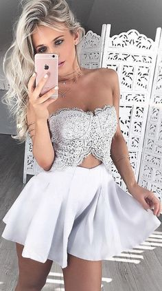 A-Line Dress,Sweetheart Dresses,Short Lace Dresses,Ivory Dresses,Homecoming Dresses Short,Homecoming Dress by Hiprom, $106.00 USD