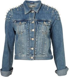 ShopStyle: MOTO Shoulder Spike Denim Jacket