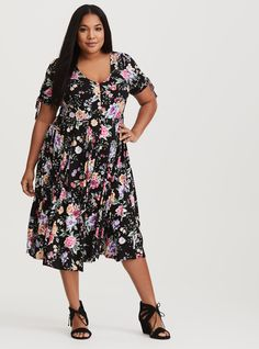 Black Floral Ruched Challis Midi Dress, DREAMING FROM THE GARDEN