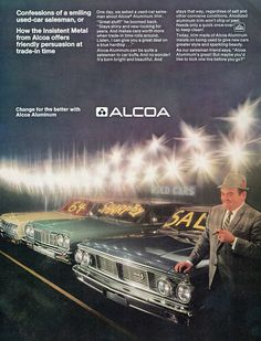"""1964 Plymouth Fury, Ford Galaxie 500 and Chevrolet Impala (1967 Alcoa Ad ) Nice image of a """"used car salesman"""""""