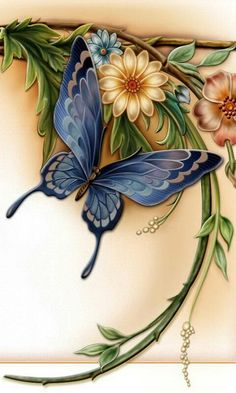 Blue Butterfly with Beautiful Flowers. Butterfly Drawing, Butterfly Painting, Butterfly Wallpaper, Butterfly Flowers, Beautiful Butterflies, Flower Art, Beautiful Flowers, Blue Butterfly, Butterfly Design