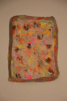Charlotte Imogen Benoit, Disruptive Coloration,Stretched Canvas, Concrete, spray paint. 2014