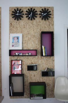 boxes in black mdf with Formica coloured background