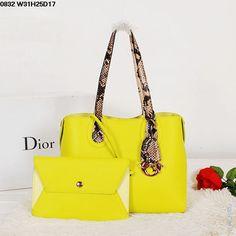 f0716ce21407 Женская сумка Christian Dior кожаная желтая с ручками под питона, с  вкладным клатчем на ремешке
