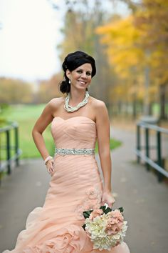 Salmon colored dress.  I'm coming out in another wedding and need to find one. I like the jewels with this color.