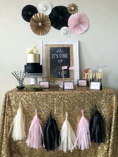 Gold Sparkly, Black, Blush Celebration, complete Party in box decorations! By Dainty Dahlias Events!