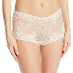 Wacoal Women's Embrace Lace Boy Short Pant, Naturally Nude/Ivory, 5