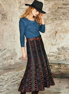 Based upon an intricate Filipino tribal textile, this gorgeous boot-length skirt is engineered in pattern-striped gores that flare to the hem. Superbly jacquard knit in rich pima jewel tones.