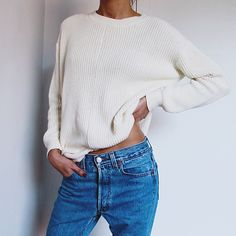 Ribbed knit + jeans.