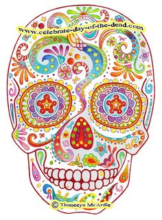 Psychedelic Sugar Skull Drawing by thaneeya, via Flickr