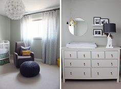 Awesome nursery. chevron curtains, gray, white, yellow, turquoise, neutral, neutral nursery ideas, nursery, baby, chandelier, white crib, calligraphy, decorative pillows
