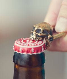 Small enough to carry in your pocket and awesome enough to show off proudly to the rest of the party, the Skull Bottle opener is hand cast from bronze and features a pop-topping skull on each end. Refreshingly cold beer not included. Art Et Design, Little Presents, Gothic House, Fancy, Skull And Bones, Skull Art, Cool Gadgets, Sugar Skull, Cool Stuff