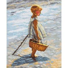 Young Girl On Beach Cross Stitch Kit