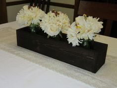 Dark Walnut Stained Wood Planter Box • Mason Jar Centerpiece, Long wood box, Candle Holder, Wedding Centerpiece • 21 inches long by Cozyhandcrafteddecor on Etsy