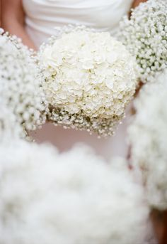 White Hydrangeas for Bride's Bouquet - Baby's Breath Bouquet for Bridesmaids.