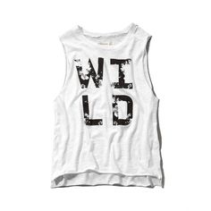 Abercrombie & Fitch Wild Graphic Muscle Tank ($12) ❤ liked on Polyvore featuring tops, shirts, tanks, tank tops, white, graphic tank, drapey tank, white tank top, cotton tank and draped shirt