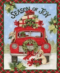 Christmas Red Truck Panel, Panel, Season of Joy, Christmas Tree Truck, TheFabricEdge Christmas Red Truck, Christmas Puppy, Country Christmas, Christmas Art, Christmas Wreaths, Christmas Ornaments, Christmas Tree With Snow, Christmas Quilting, Christmas Scenes