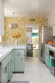 Contemporary Kitchen with Undermount sink, interior wallpaper, Inset cabinets, Chinoiserie wallpaper, European Cabinets