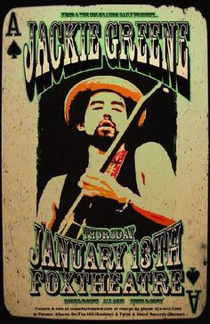 Original concert poster for Jackie Greene at The Fox Theatre in Boulder, CO in 2011.  11x17 card stock.