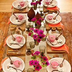 chinese new year table setting - lots of gold glassware, orchids