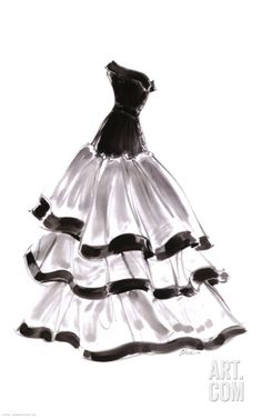 Evening Gown with Ruffles Art Print by Tina at Art.com