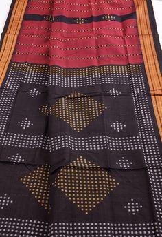 Orissa Bomkai red black shot stripes