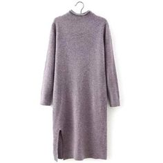 Yoins Yoins Plum Long Sleeves Sweater Dress (61 BAM) ❤ liked on Polyvore featuring dresses, plum, shirts & tops, longsleeve dress, plum dress, purple dress, long sleeve knit dress and purple sweater dress