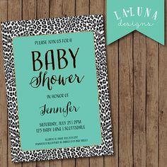 Animal Print Baby Shower Invite, Girl Baby Shower Invite, Animal Print Invitation, Gold Glitter Baby Shower, Leopard Print, DIY Printable