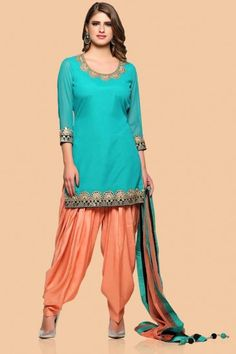 Firozi green Georgette Patiala Suit With  Dupatta - 1777