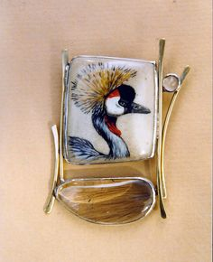 """""""Crowned Crane Pin"""" sterling silver, gold, acrylic on deer antler, rutilated quartz, moonstone Ali Wieboldt Exhibiting member in Jewelry Feather Jewelry, Bird Jewelry, Enamel Jewelry, Resin Jewelry, Jewelry Art, Gold Diamond Earrings, Rutilated Quartz, Artisan Jewelry, Crane"""