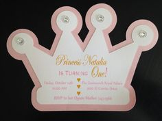 Items similar to Princess Crown Cutout Invitation on Etsy Princess Invitations, Baby Shower Invitations, Party Invitations, Invite, Party Favors, Baby Shower Princess, Princess Birthday, Princess Party, Disney Princess