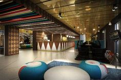 Colourful and creative lobby/reception area at hotel Scandic Paasi in Helsinki.