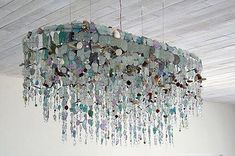 Light the way Riaan Chambers recycled glass chandelier Sea Glass Chandelier, Driftwood Chandelier, Chandelier Lighting, Chandeliers, Square Chandelier, Sea Glass Beach, Sea Glass Art, Sea Glass Jewelry, Stained Glass