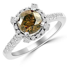 Jewelry Point - 1.89ct Halo Champagne Diamond Engagement Ring 18k White Gold, $3,600.00 (http://www.jewelrypoint.com/1-89ct-halo-champagne-diamond-engagement-ring-18k-white-gold/)