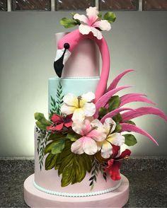 Tiered Flamingo Cake. Hawaiian. #cake