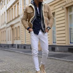 """☆ THE MANITY (@themanity) on Instagram: """"Follow @styleiswhat to shop this look! #styleiswhat"""" White Pants Men, Men Fashion, Leather Jacket, Jackets, Shopping, Instagram, Style, Tips, Men Styles"""