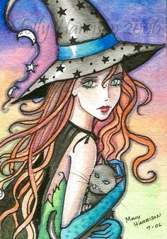 Magick Wicca Witch Witchcraft: redhead quotes, red hair and makeup, shadowhunters makeup Fantasy Witch, Witch Art, Fantasy Art, Halloween Painting, Halloween Art, Halloween Witches, Witch Pictures, Beautiful Fairies, Fairy Art
