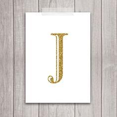 Gold Letter J - 5x7
