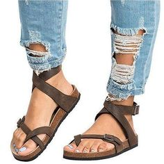 e00e1eca9b92f Ankle Strap Buckle Flip Flop Gladiator Thong Flat Sandals