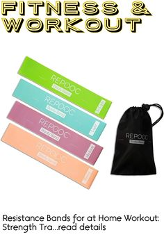 Resistance Bands for at Home Workout: Strength Training, Yoga, Stretching, Butt and Leg Sculpting. Set of 4 Mini Loops - Carry Bag Included! ... (This is an affiliate link)