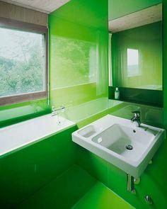 green glass bathroom